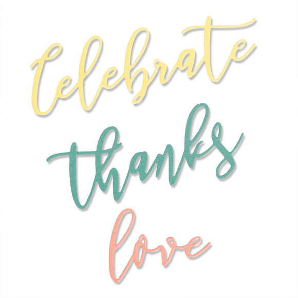 Stansvorm Sizzix: Love, Celebrate Thanks