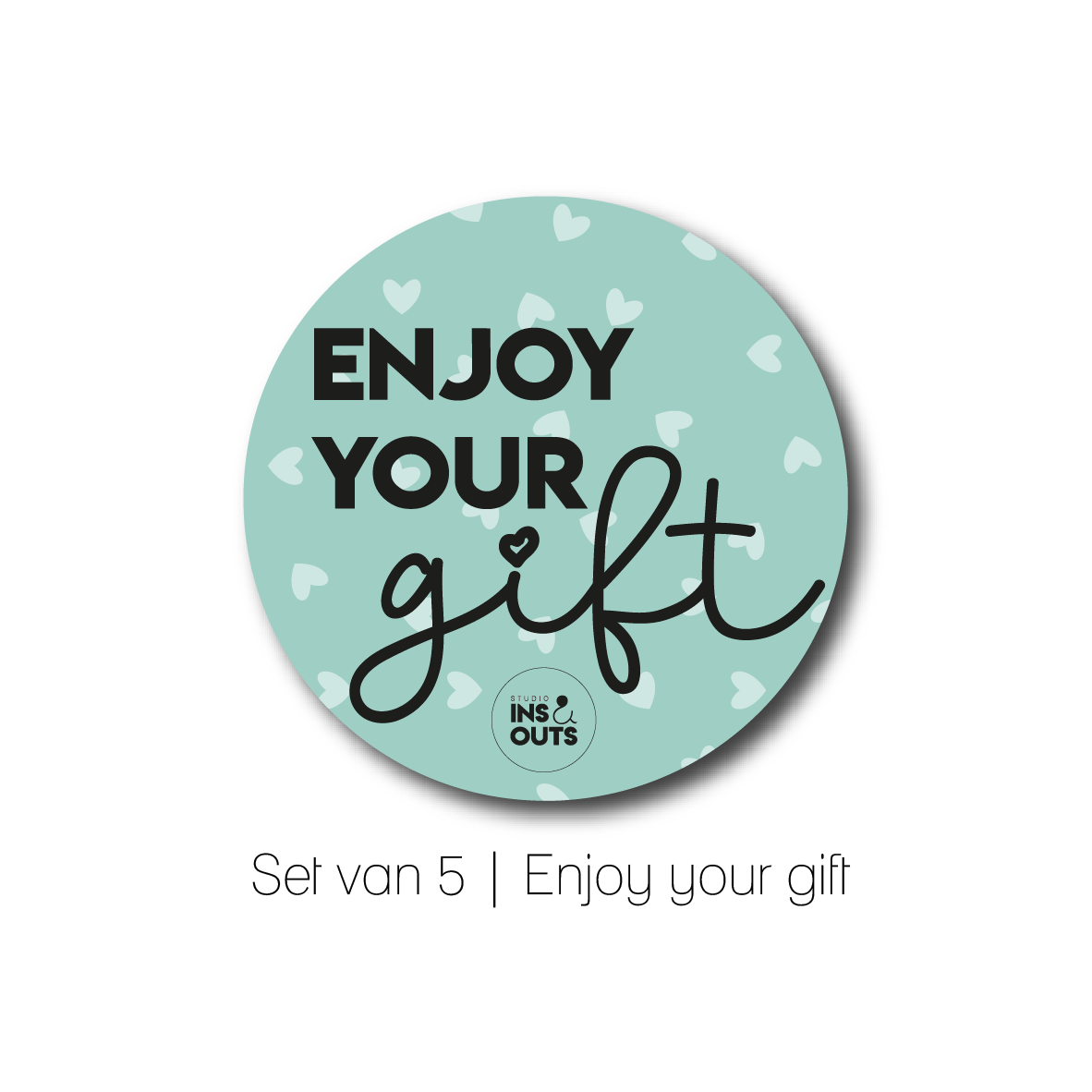 Set van 5 cadeau stickers | Enjoy your gift