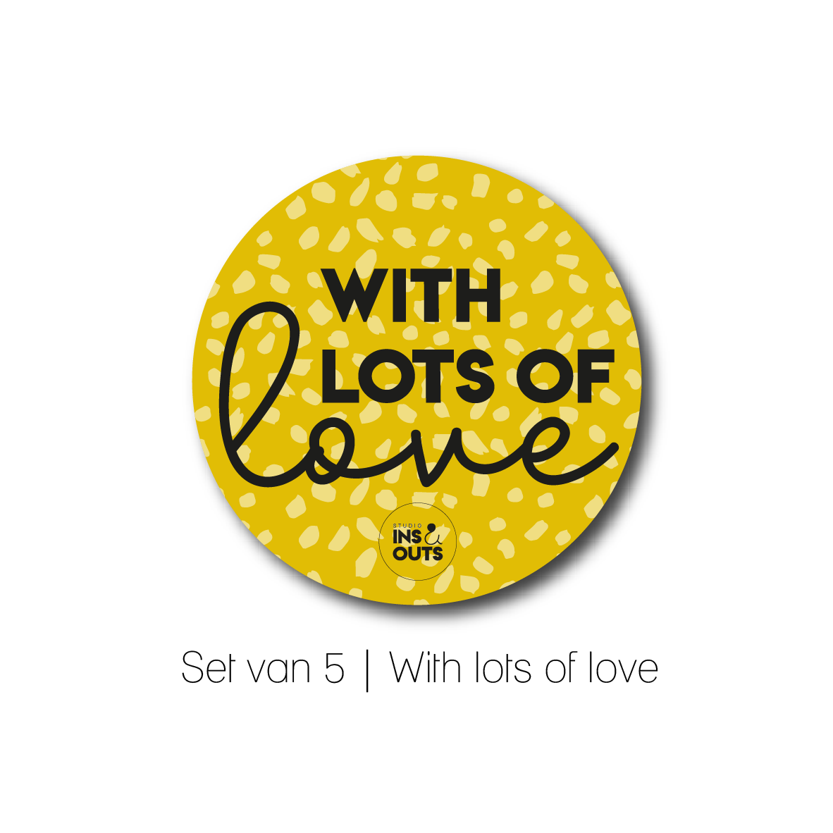 Set van 5 cadeau stickers | With lots of love